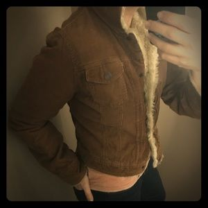 Abercrombie & Fitch brown corduroy fur jacket